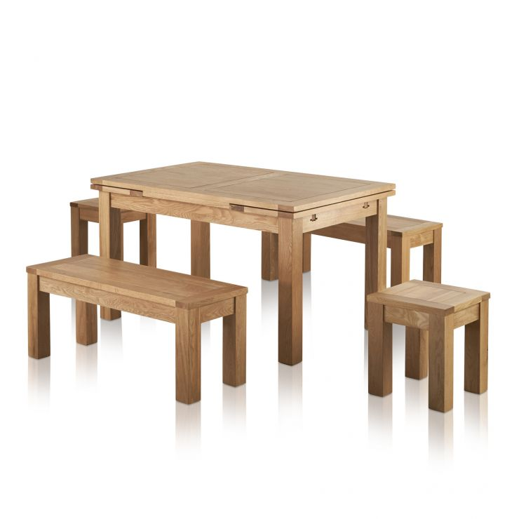 "Dorset Natural Oak Dining Set - 4ft 7"" Extending Table with 2 x 3ft 7"" Benches and 2 x Square Stools"