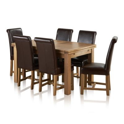 "Dorset Natural Solid Oak - 4ft 7"" Extending Table + 6 Leather Chairs"