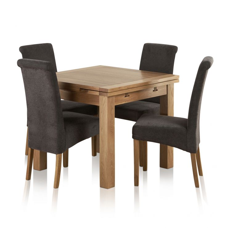 Dorset Natural Solid Oak 3ft Extending Table with 4 Scroll Back Plain Charcoal Fabric Chairs - Image 8