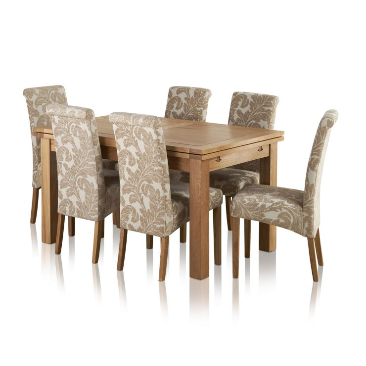 """Dorset Natural Solid Oak 4ft 7"""" Extending Table + 6 Scroll Back Chairs - Image 8"""