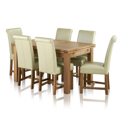 "Dorset Natural Solid Oak 4ft 7"" Extending Table with 6 Braced Scroll Back Cream Leather Chairs"