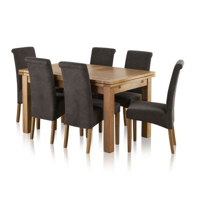 """Dorset Natural Solid Oak 4ft 7"""" Extending Table with 6 Scroll Back Plain Charcoal Fabric Chairs"""