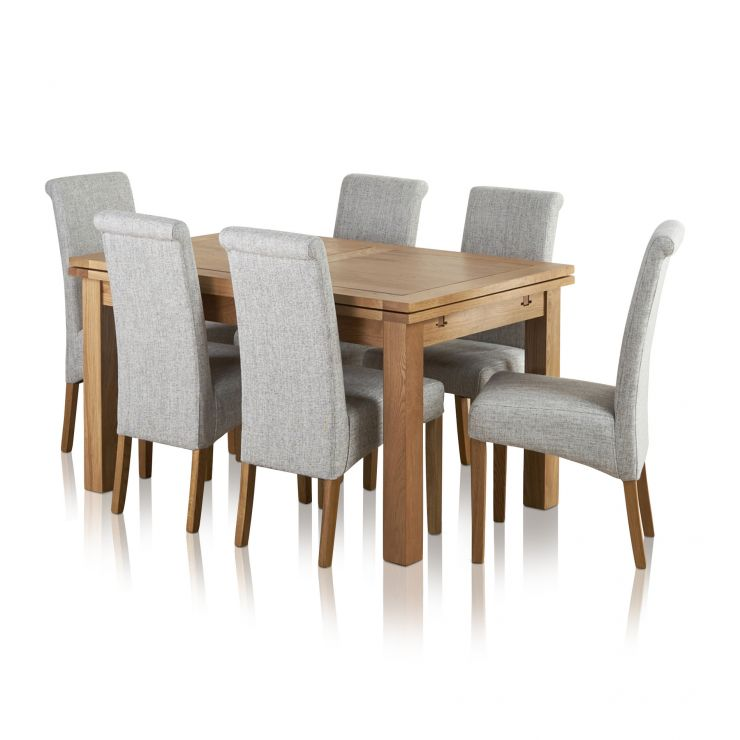 "Dorset Natural Solid Oak 4ft 7"" Extending Table with 6 Scroll Back Plain Grey Fabric Chairs - Image 1"