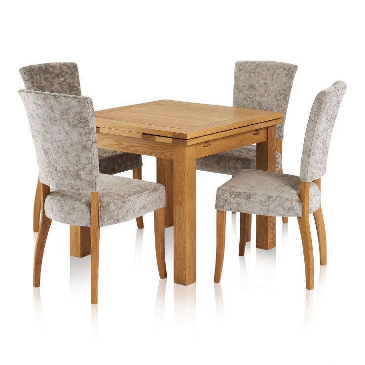 Dorset Dining Set - 3ft Extendable Table with 4 Plain Truffle Upholstered Curve Back Chairs
