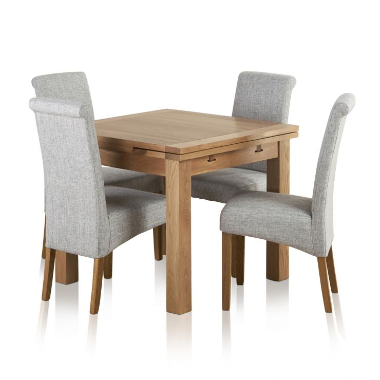 Dorset Natural Solid Oak Dining Set - 3ft Extending Table and 4 Scroll Back Plain Grey Fabric Chairs - Image 7