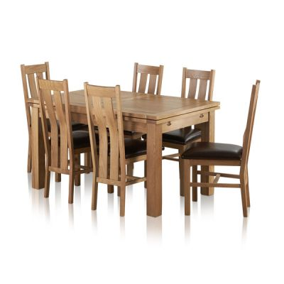 """Dorset Natural Solid Oak Dining Set - 4ft 7"""" Extending Table with 6 Arched Back Brown Leather Chairs"""