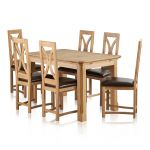 """Edinburgh Natural Solid Oak 4ft 3"""" x 2ft 7"""" Extending Dining Table + 6 Loop Back Natural Solid Oak and Brown Leather Dining Chair - Thumbnail 1"""