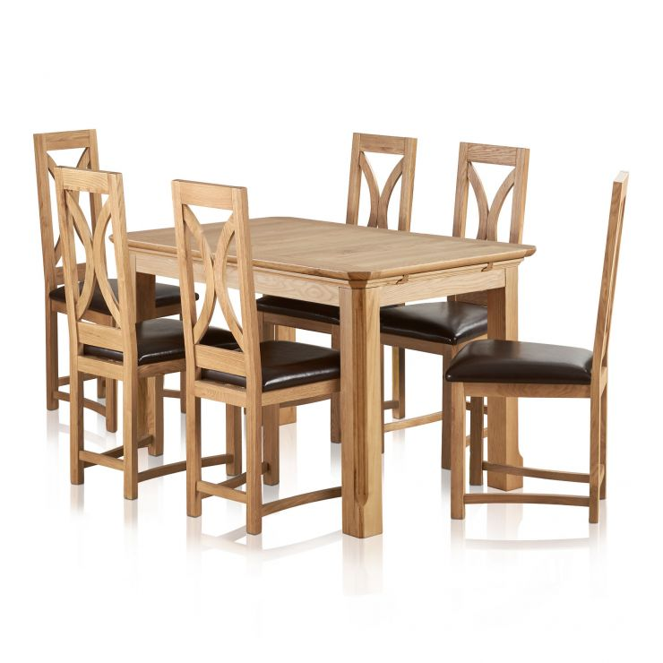 """Edinburgh Natural Solid Oak 4ft 3"""" x 2ft 7"""" Extending Dining Table + 6 Loop Back Natural Solid Oak and Brown Leather Dining Chair"""