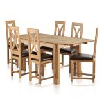 """Edinburgh Natural Solid Oak 4ft 3"""" x 2ft 7"""" Extending Dining Table + 6 Loop Back Natural Solid Oak and Brown Leather Dining Chair - Thumbnail 2"""