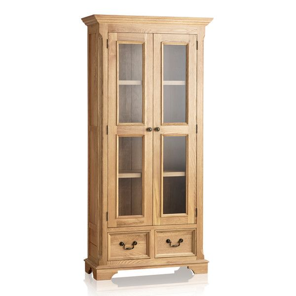 Edinburgh Natural Solid Oak Display Cabinet