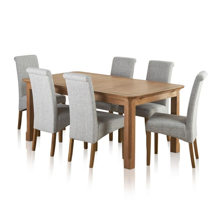 Edinburgh Solid Oak Dining Set - 6ft Extending Table + 6 Grey Chairs - Image 9