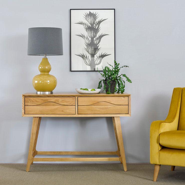 Ellipse Natural Solid Oak Console Table
