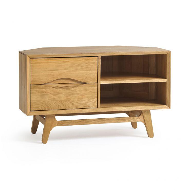 Ellipse Natural Solid Oak Corner TV Unit