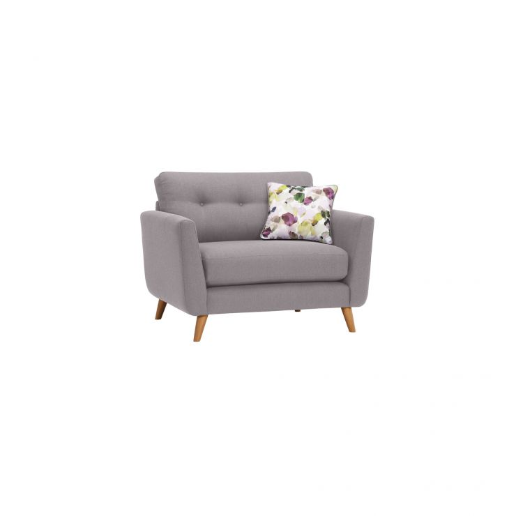 Evie Loveseat in Silver Fabric