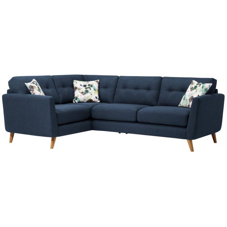 Evie Right Hand Corner Sofa in Blue Fabric   Oak Furnitureland