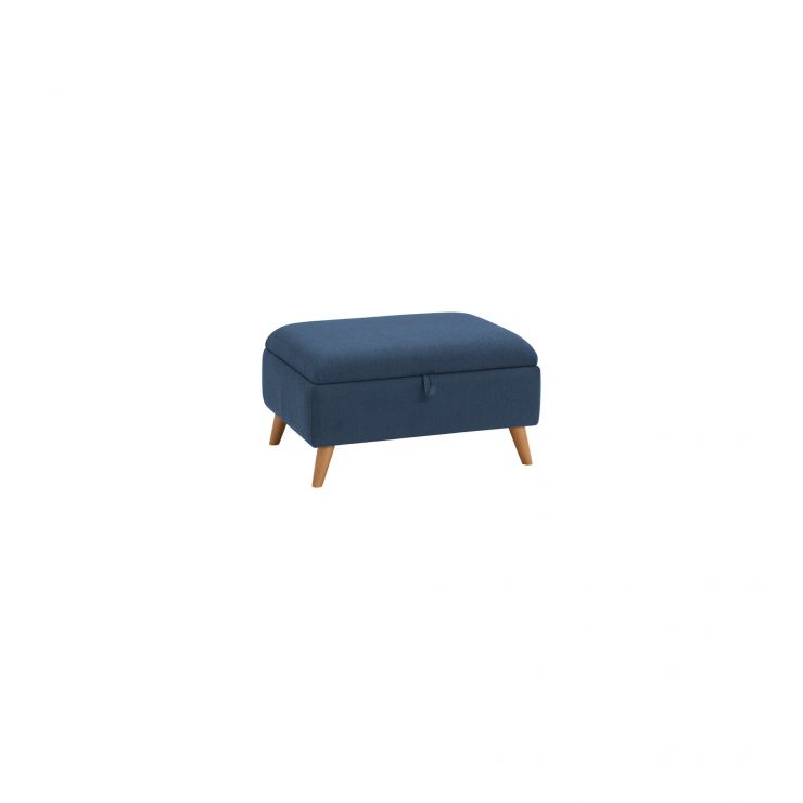 Evie Storage Footstool in Plain Blue Fabric
