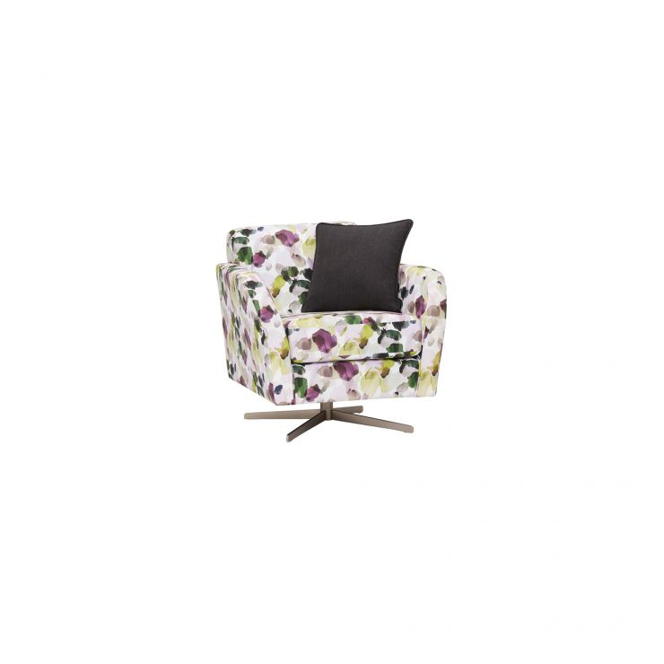 Evie Swivel Chair in Patterned Purple Fabric + Charcoal Scatter