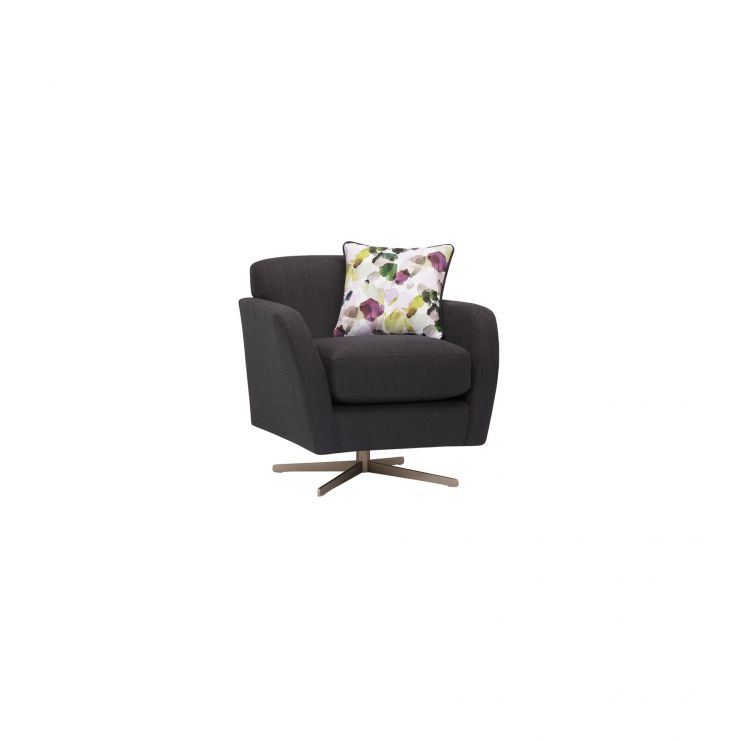 Evie Swivel Chair in Plain Charcoal Fabric - Image 10