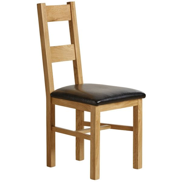 Farmhouse Natural Solid Oak and Black Leather Dining Chair