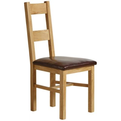 Farmhouse Natural Solid Oak and Brown Leather Dining Chair