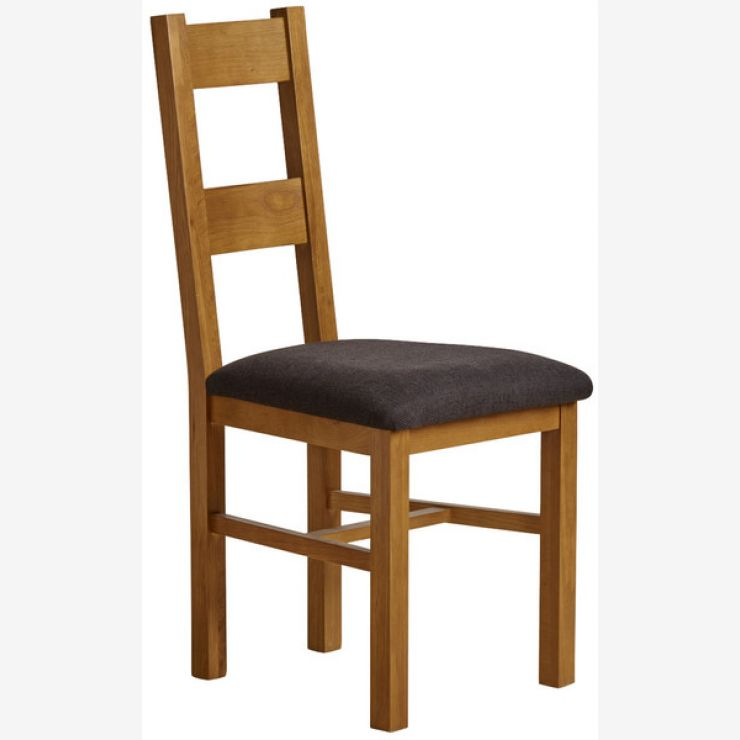 Farmhouse Rustic Solid Oak and Black Plain Fabric Dining Chair - Image 3