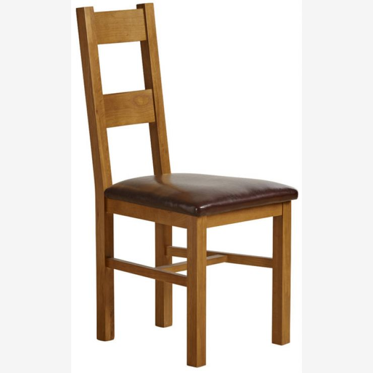 Farmhouse Rustic Solid Oak and Brown Leather Dining Chair - Image 3