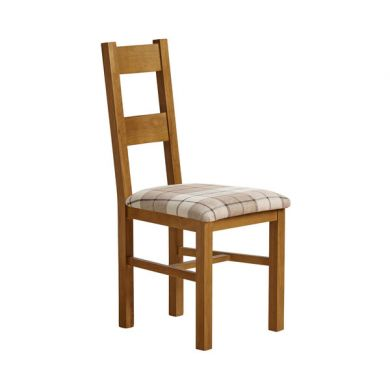 Farmhouse Rustic Solid Oak and Check Brown Fabric Chair