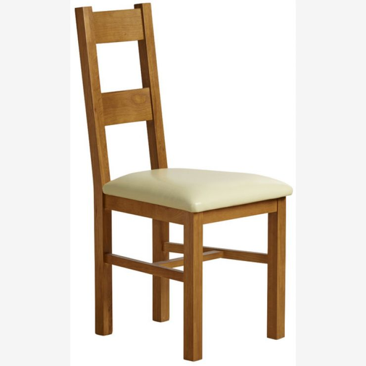 Farmhouse Rustic Solid Oak and Cream Leather Dining Chair