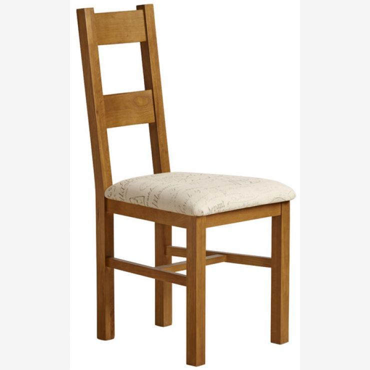 Farmhouse Rustic Solid Oak and Scripted Beige Fabric Chair - Image 4