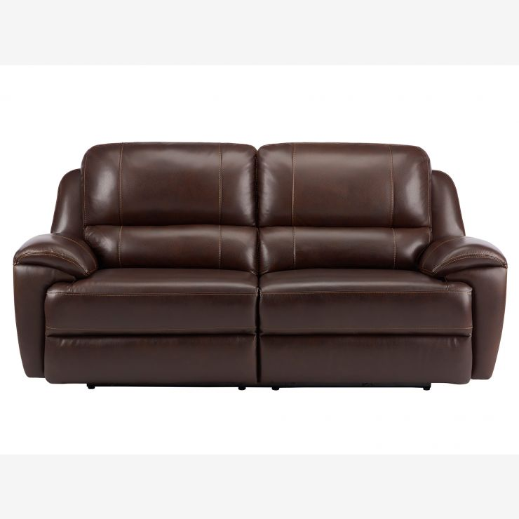Finley 3 Seater Sofa with 2 Electric Recliners - Brown Leather - Image 5