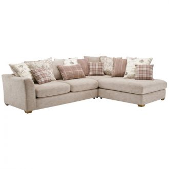 Florence Corner Pillow Back Sofa Left Hand in Beige with Beige Scatters