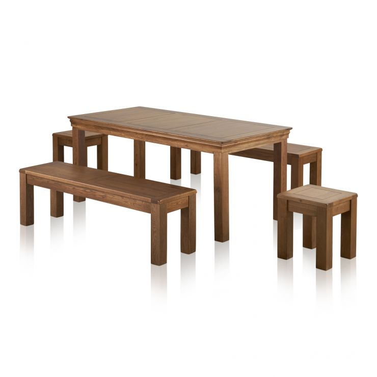 """French Farmhouse Rustic Oak Dining Set - 6ft Table with 2 x 4ft 11"""" Benches and 2 x Square Stools"""