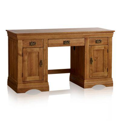 French Farmhouse Rustic Solid Oak Computer Desk
