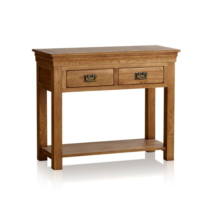 French Farmhouse Rustic Solid Oak Console Table - Image 7