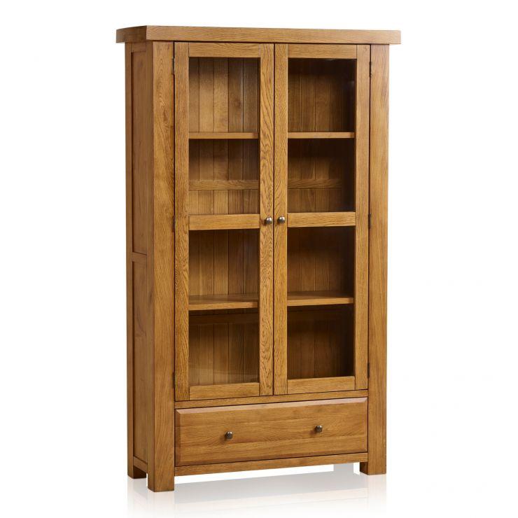 Hercules Rustic Solid Oak Display Cabinet