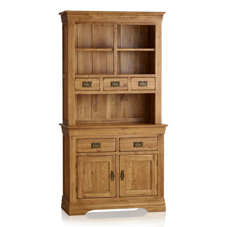 French Farmhouse Rustic Solid Oak Small Dresser - Image 1