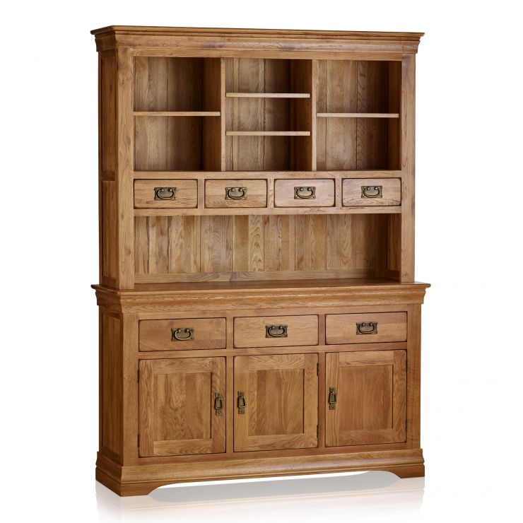 French Farmhouse Rustic Solid Oak Large Dresser - Image 7