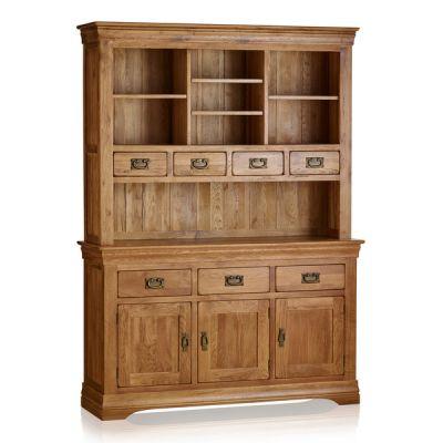 French Farmhouse Rustic Solid Oak Large Dresser