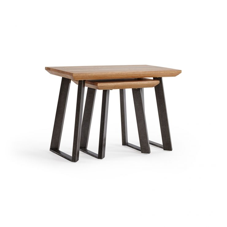 Boston Natural Solid Oak and Metal Nest of 2 Tables