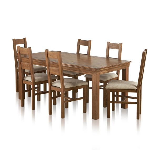 French Farmhouse Rustic Oak Dining Set - 6ft Table with 6 Farmhouse and Beige Plain Fabric Dining Chairs