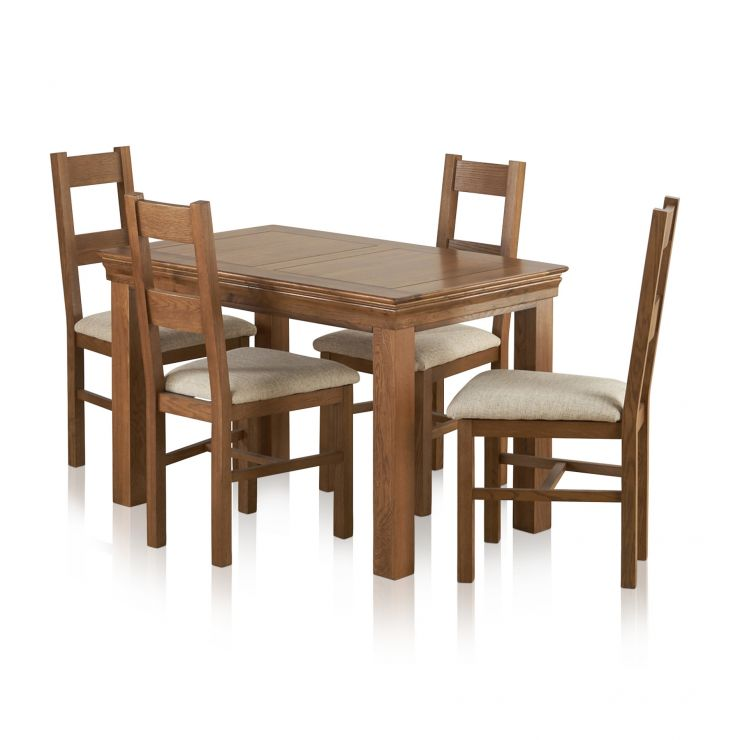 French Farmhouse Rustic Solid Oak 4ft Dining Set With 4 Farmhouse and Plain Beige Fabric Chairs - Image 1
