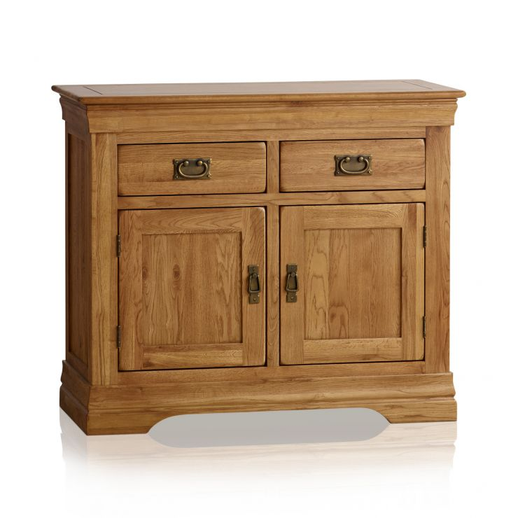 French Farmhouse Rustic Solid Oak Small Sideboard - Image 1
