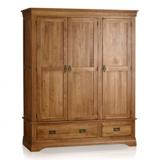 French Farmhouse Rustic Solid Oak Triple Wardrobe