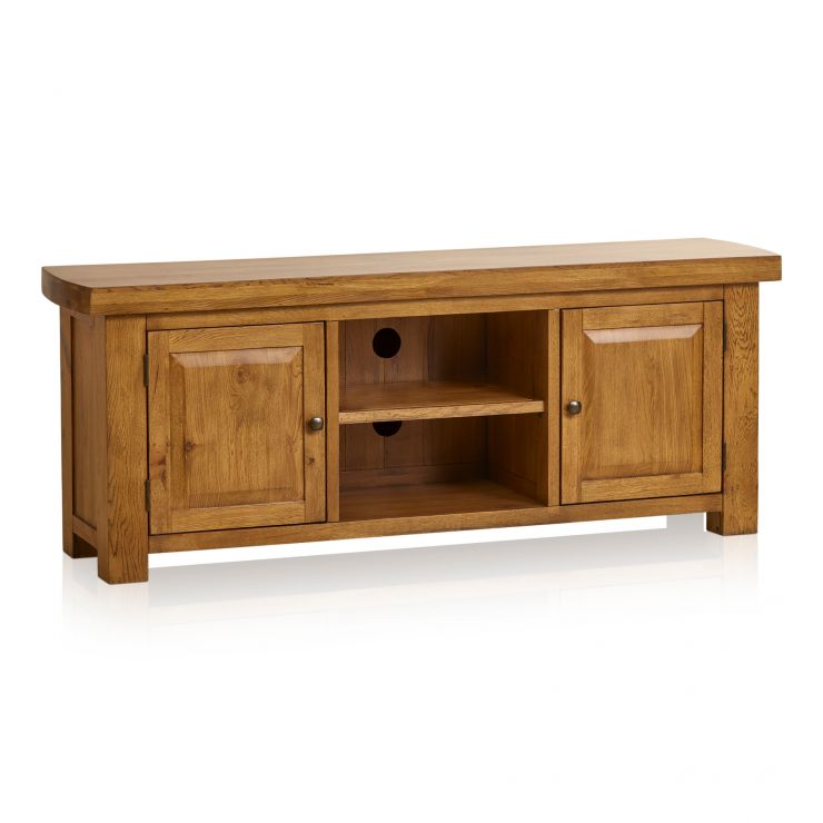 Hercules Rustic Solid Oak Large TV Cabinet