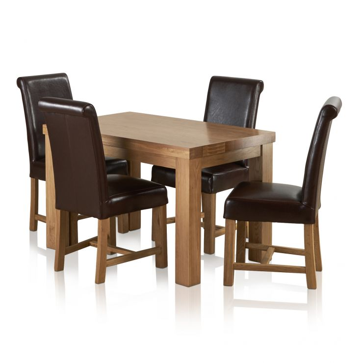 Fresco Natural Solid Oak Dining Set - 4ft Table with 4 Braced Scroll Back Brown Leather Chairs - Image 6