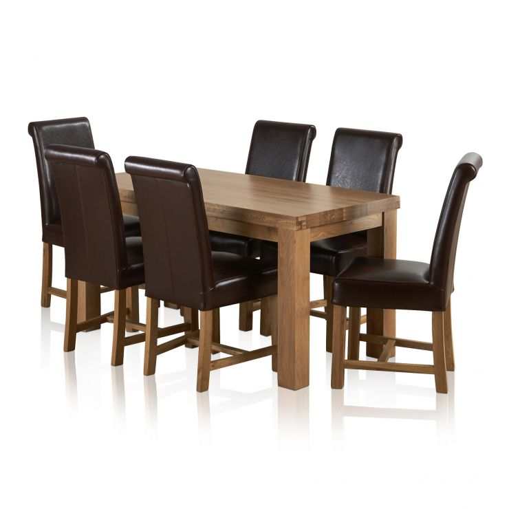 Fresco Natural Solid Oak Dining Set - 5ft Table with 6 Braced Scroll Back Brown Leather Chairs - Image 6