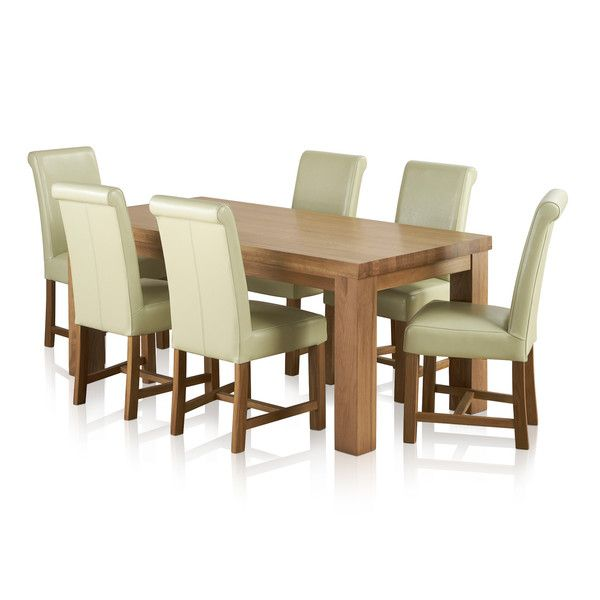 Fresco Natural Solid Oak Dining Set - 6ft Table with 6 Braced Scroll Back Cream Leather Chairs