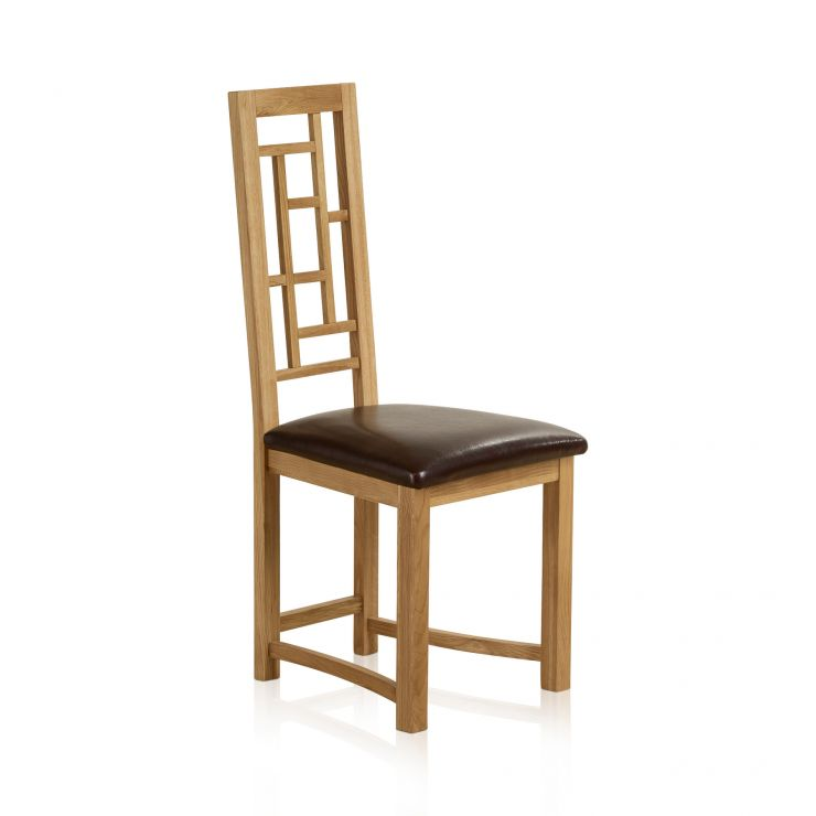 Fret Back Natural Solid Oak and Brown Leather Dining Chair - Image 3
