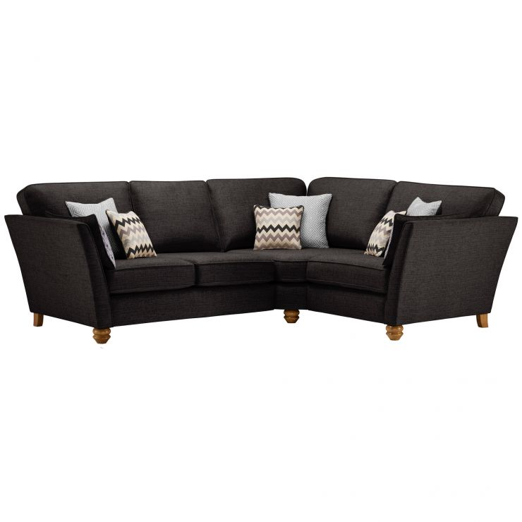 Gainsborough Left Hand Corner Sofa in Black with Silver Scatters - Image 1