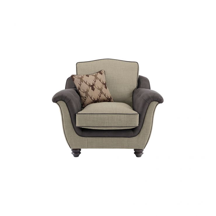 Galloway Armchair in Blyth Fabric - Beige with Almudar Stag Scatter
